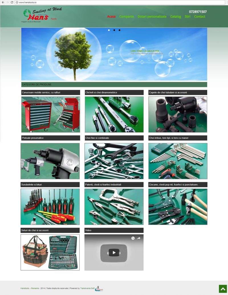 Hans Tools dezvoltare site web Transilvania Soft&Web Design