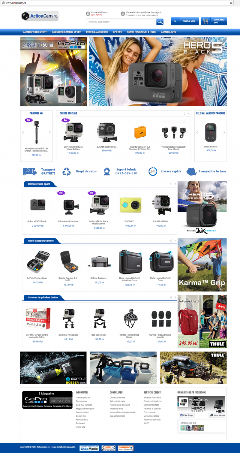 dezvoltare ecommerce ActionCam by Transilvania Soft